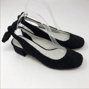 NEW Bettye Muller Weekend Black Bow Slingbacks